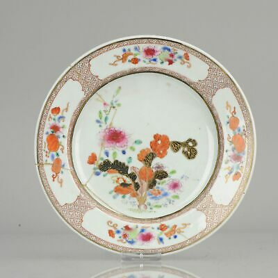 Antique 18C Qing Chinese Export Porcelain Famille Rose Tabacco Leaf Plat...