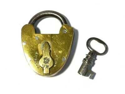 Antique Swing Keyhole Cover PadLock with Key Victorian VR Solid Brass