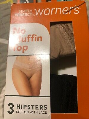 """WARNER'S Panties """" The Lace Hipster""""  2 Pack  No Pinching-Size 5 Small"""