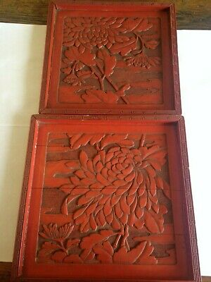 Two beautiful antique Cinnabar Trays Deep carving