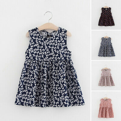 Toddlers Dress Baby Girls Holiday Summer Cotton Dress Pleated A-Line Beach