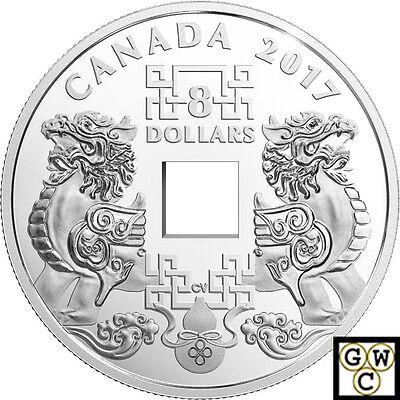 2017Feng Shui Good Luck Charms'Square Hole Prf $8 Silver Coin .9999Fine(18164)NT