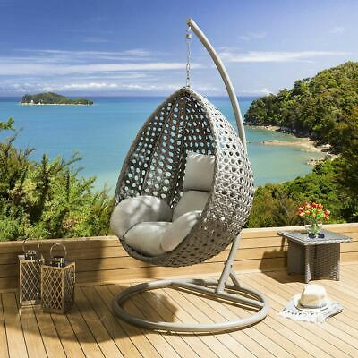 Luxury Extra Large Outdoor Garden Hanging Pod / Egg Chair Grey Rattan