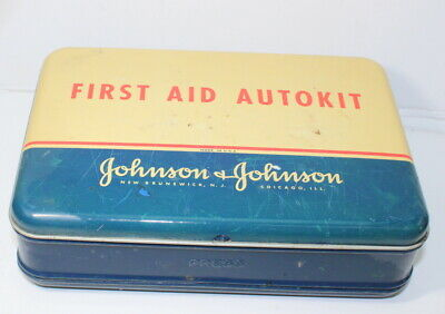 Johnson & Johnson First Aid autokit tin With Contents Vintage