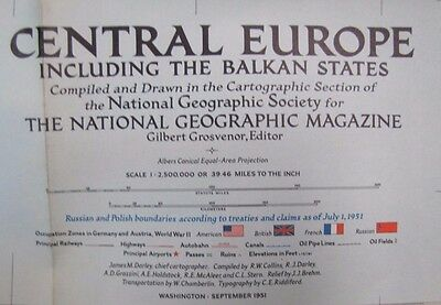 1951 CENTRAL EUROPE BALKAN STATE World Map