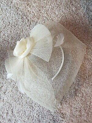 Fasinator Satin Headband Mesh Veil. Chiffon Flower. Off white. Wedding.