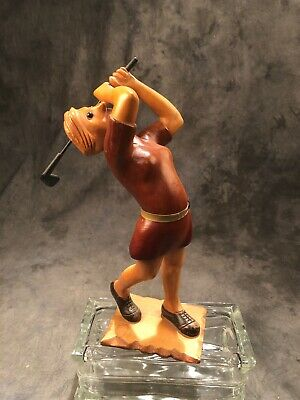 "Romer Hand Carved Wooden Lady Golfer Statue,  Italian 12"" Vintage"