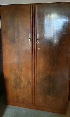Vintage 1930s Art Deco Walnut Wardrobe - Good Condition