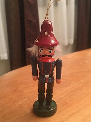 """Vintage Wooden Nutcracker Soldier 4"""" Christmas Ornament Hand Painted"""