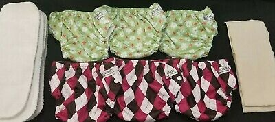 Sunbaby cloth diapers 6 pack + inserts, wipes