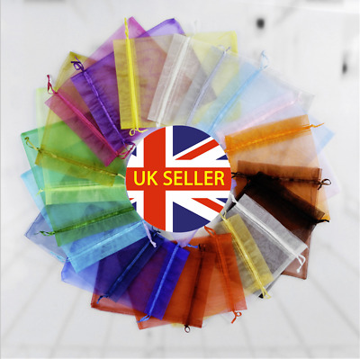 UK 10-100pcs Luxury Organza Wedding Favour Gift Candy Bags Jewelry Pouch Colours