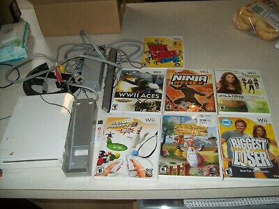 Nintendo Wii System Console Bundle + 7 Games, Working 100% Lot #2
