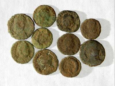 10 ANCIENT ROMAN COINS AE3/4 - Uncleaned and As Found! - Unique Lot X07601