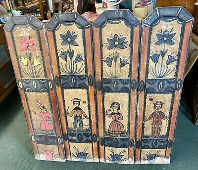 Vintage Carved WOODEN FOLK ART Panels Antique Wall Decor/Room Divider AMERICANA