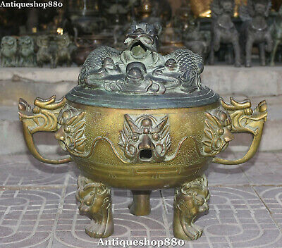 "21"" Old Chinese Bronze Ming Dynasty Nine Dragon Loong Incense Burner Censer"