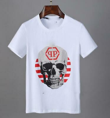 Men's Skull head Graphic TEE Round Neck Short Sleeve T-SHIRT white Large