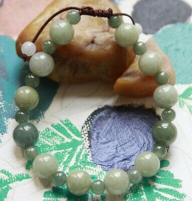 Gemstone Genuine Natural Grade A Jadeite Jade Beautiful Handmade Bracelet #567