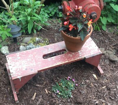 Vintage Antique Primitive Stool shabby chippy red paint bench plant stand Wood