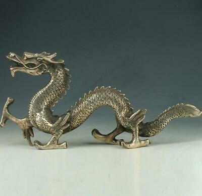 Old Chinese Silve Copper Hand Made Statue Carved Dragon E01
