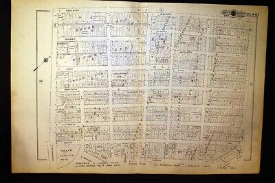 1916 Detroit Plat Map Woodward Avenue Grand Circus Park Beacon Baist's