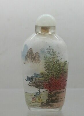 1920s Antique Chinese Frosted Glass Snuff Bottle Hand Painted On The Inside