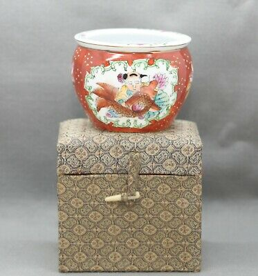Vintage Chinese Hand Painted Eggshell Porcelain Jardinière Pot Brocade Boxed