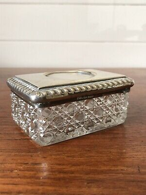 Vintage Lead Crystal/ Cut Glass And EPNS Lidded Trinket Dish Made In England