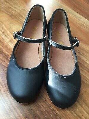 BLOCH Girls Black Leather Tap Shoes Size 12.5