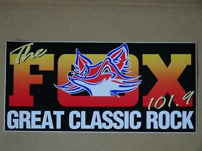 Original Genuine FOX FM 101.9 Great Classic Rock 1980's sticker 9cm x 19cm