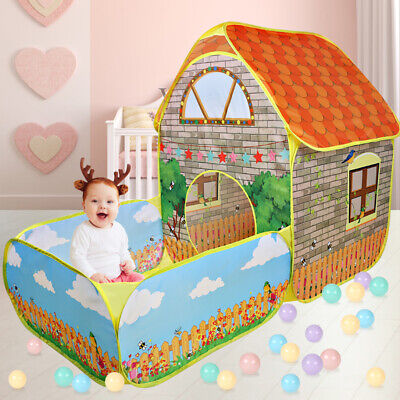 Kids Pop Up Play Tent Tunnel Playhouse With Ball Pit Indoor/Outdoor Home Garden