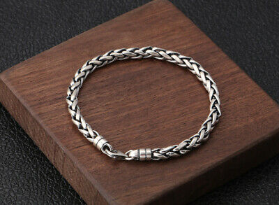 Old 925 Sterling Silver Hand-Carved Delicate Dough-twist Style Decorate Bracelet