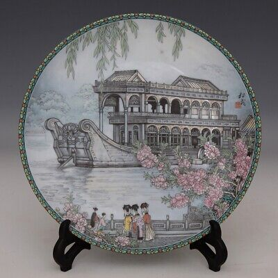 Collect China Old Porcelain Paint Figure & Scenery Delicate Noble Decorate Dish
