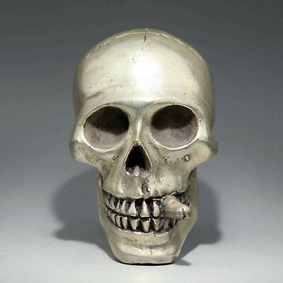 Collectable China Old Miao Silver Hand-Carved Terrible Skull Smoke Decor Statue