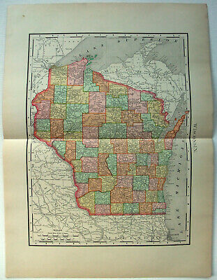 Original 1895 Map of Wisconsin by Rand McNally. Antique