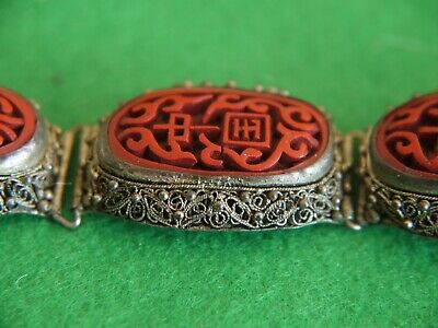 ATTRACTIVE CASED VINTAGE ORNATE Chinese Carved Red CINNABAR BRACELET JEWELLERY