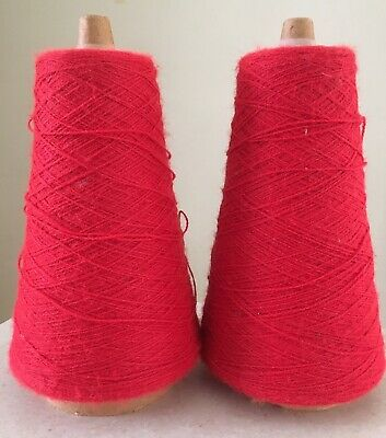 Vintage KANEBO HB YARN cone Spool For Knitting Machine  Red