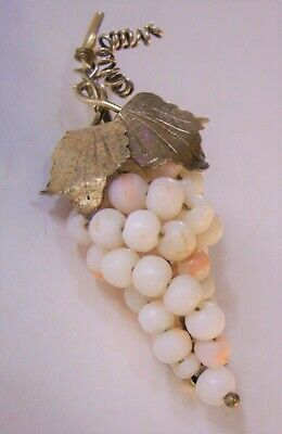 vintage nouveau 800 sterling silver angel skin coral beads bunch of grapes pin