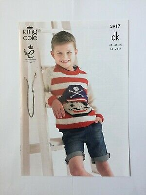 Boys Double Knitting Pattern King Cole DK Striped Pirate Jumper Sweater Hat 3917