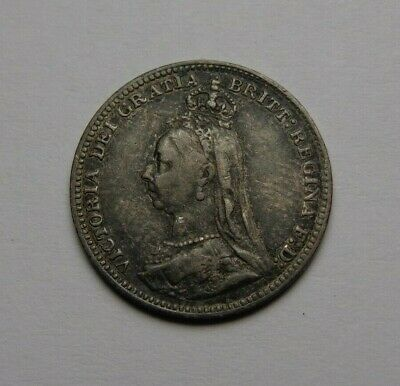 1890 Great Britain Victoria Silver 3 Pence Very Nice! Must See!!