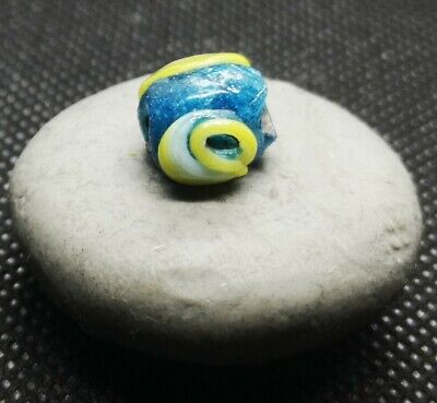 ANCIENT PHOENICIAN MOSAIC GLASS BEAD EVIL EYE (double face) 300 BC 1.32gr 10.8mm