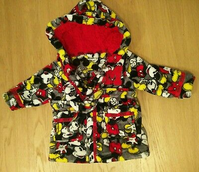 Disney Mickey Mouse Fluffy 3-6 Months Baby Dressing Gown Hooded Boy Girl Unisex