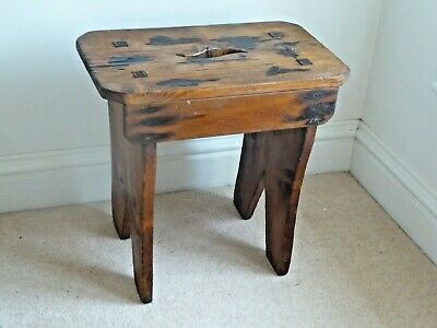 Vintage Hand Crafted Antique Pine Rustic  Stool.