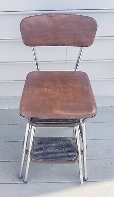 Vintage Cosco Step Stool Chair Fold Out Chrome Metal Industrial