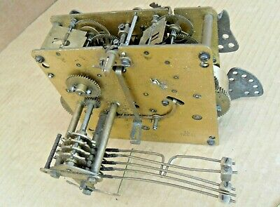 Vintage Haller A.g. Brass Clock Movement Parts Missing Not Working Cogs Hands