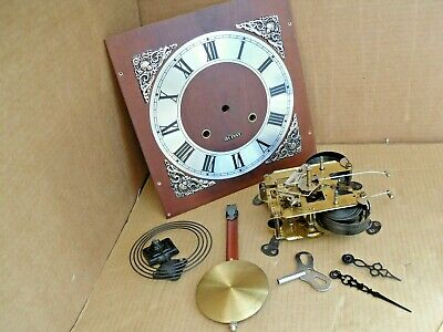 Old Working Brass Clock Movement Face Pendulum Key Ideal For A Clock Making Kit