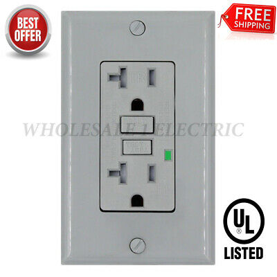 20 Amp GFCI Receptacle Outlet w/ LED & UL  - GRAY Gfi 20 Amp (10PACK) TR