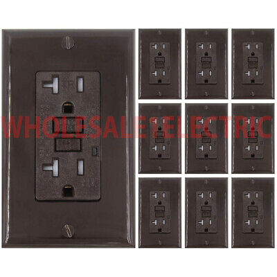 20 Amp GFCI Receptacle Outlet w/ LED & UL  - BROWN  Gfi 20 Amp (10PACK) TR