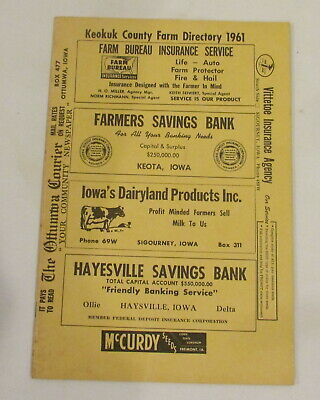1961 Keokuk County IOWA Farm Directory Plat Book VINTAGE ADVERTISING Farm Map