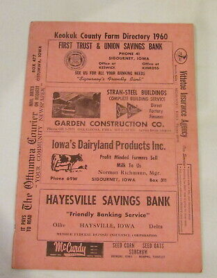 1960 Keokuk County IOWA Farm Directory Plat Book VINTAGE ADVERTISING Farm Map