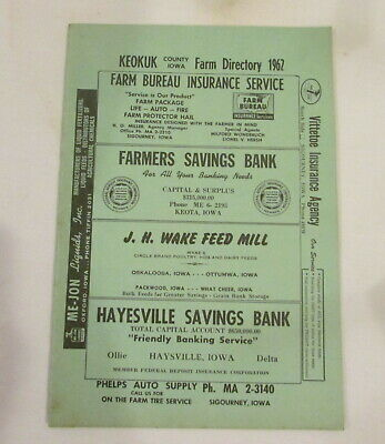 1962 Keokuk County IOWA Farm Directory Plat Book VINTAGE ADVERTISING Farm Map